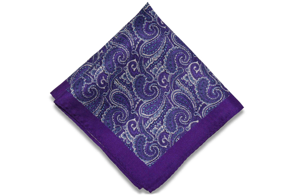 Paisley Purple Silk Pocket Square