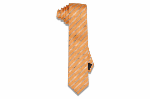 Papaya Stripes Silk Skinny Tie