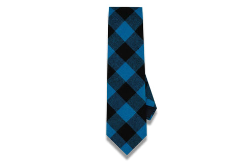 Parker Plaid Blue Cotton Tie