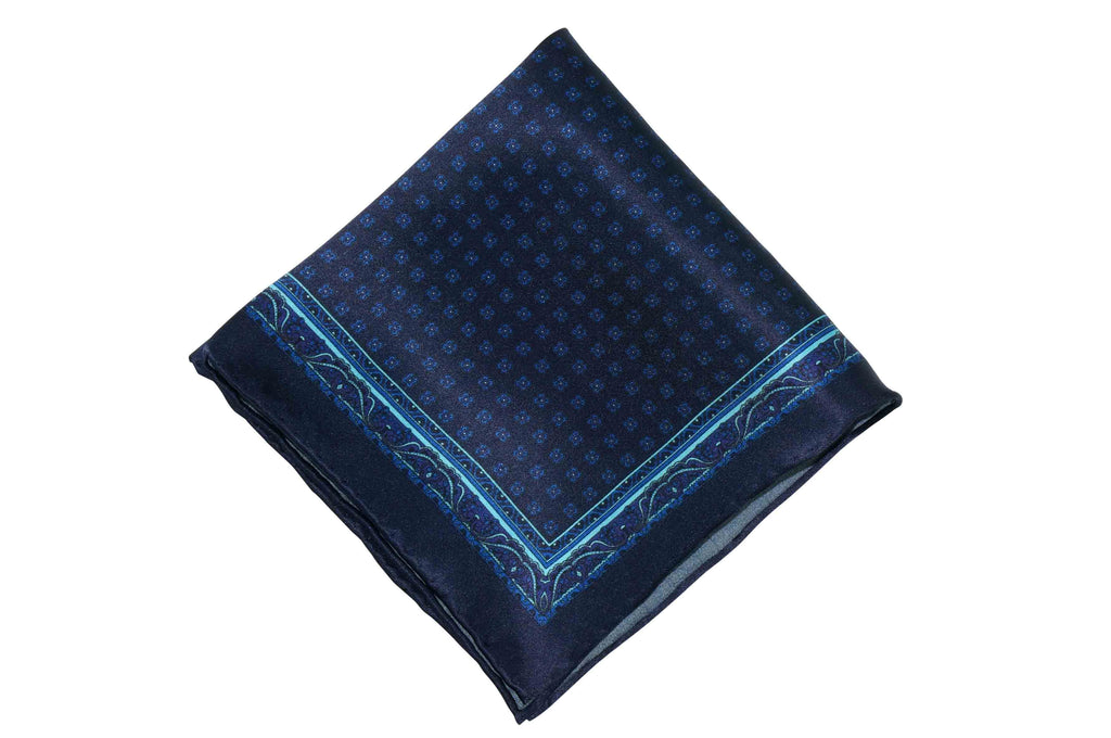 Pattern Blues Silk Pocket Square