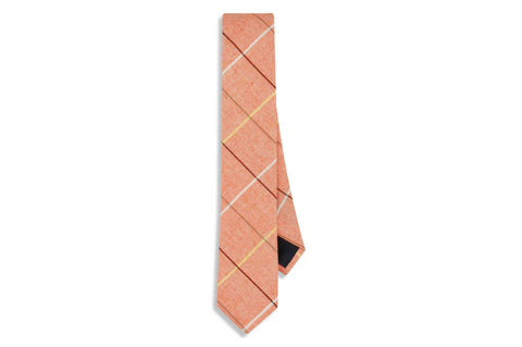 Peach Boxed Cotton Skinny Tie