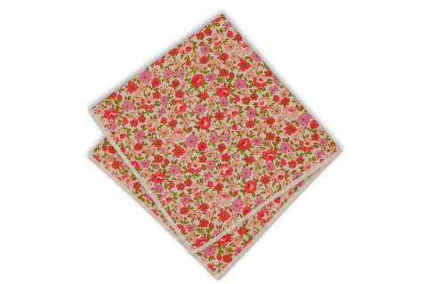 Peach Floral Cotton Pocket Square