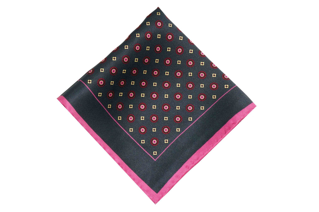 Pink Black Medallion Silk Pocket Square