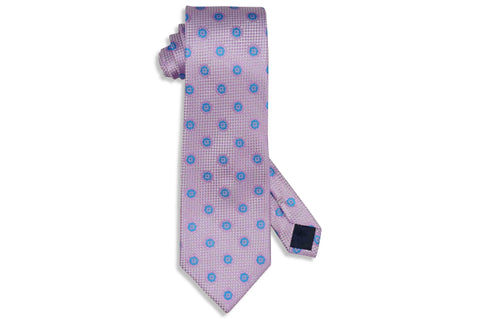 Pink Blue Flowers Silk Tie