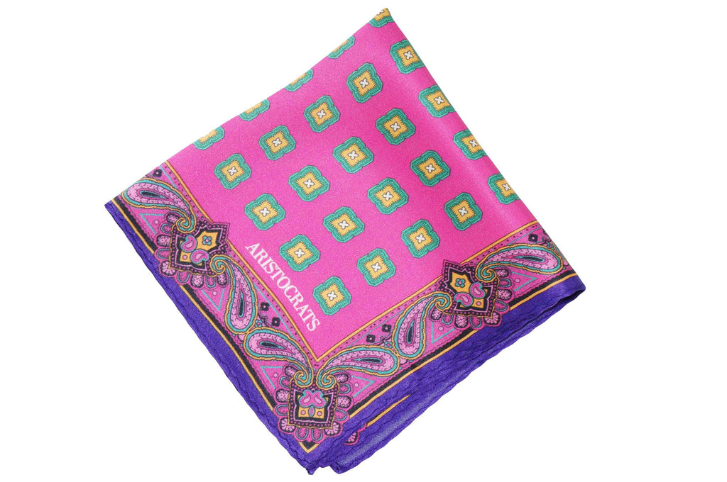 Pink Border Paisley Silk Pocket Square