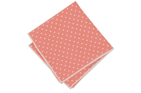Pink Dotted Cotton Pocket Square
