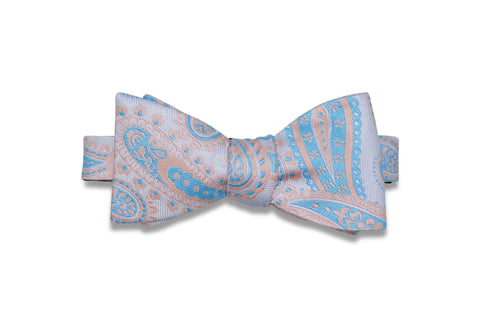 Pink Edge Paisley Silk Bow Tie (self-tie)