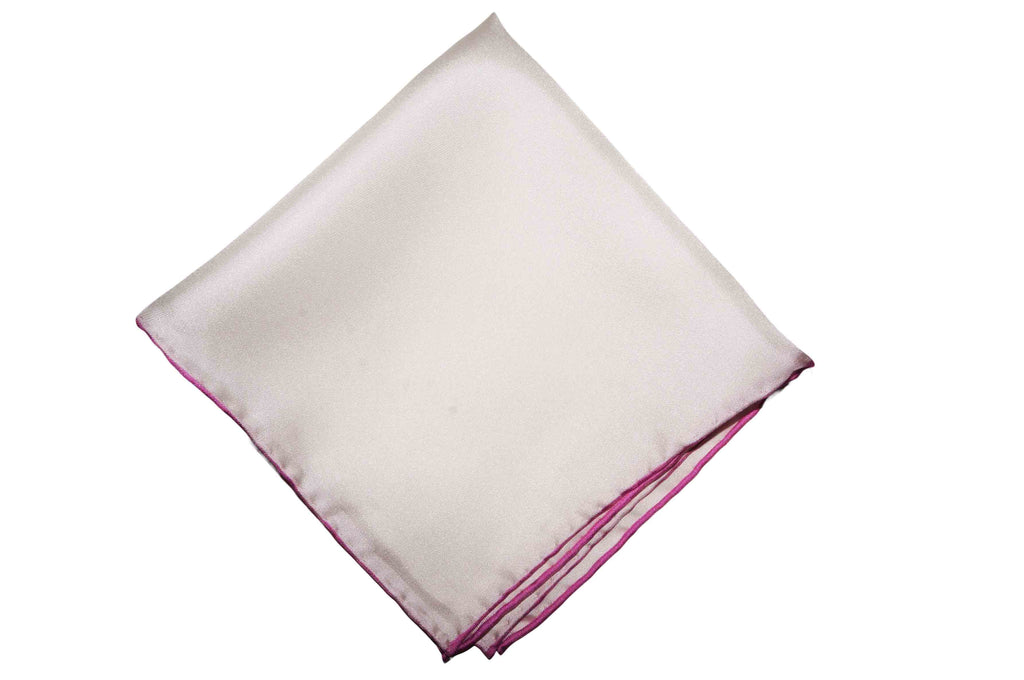 Pink Edge Silk Pocket Square