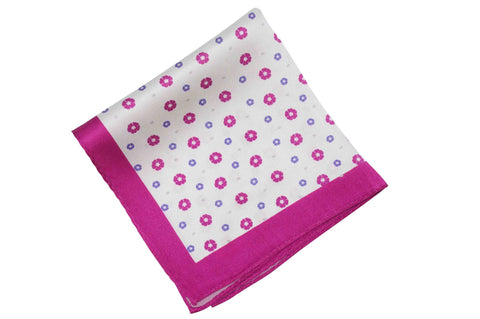 Pink Flowers Silk Pocket Square