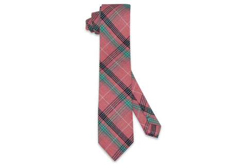 Pink Framed Cotton Skinny Tie