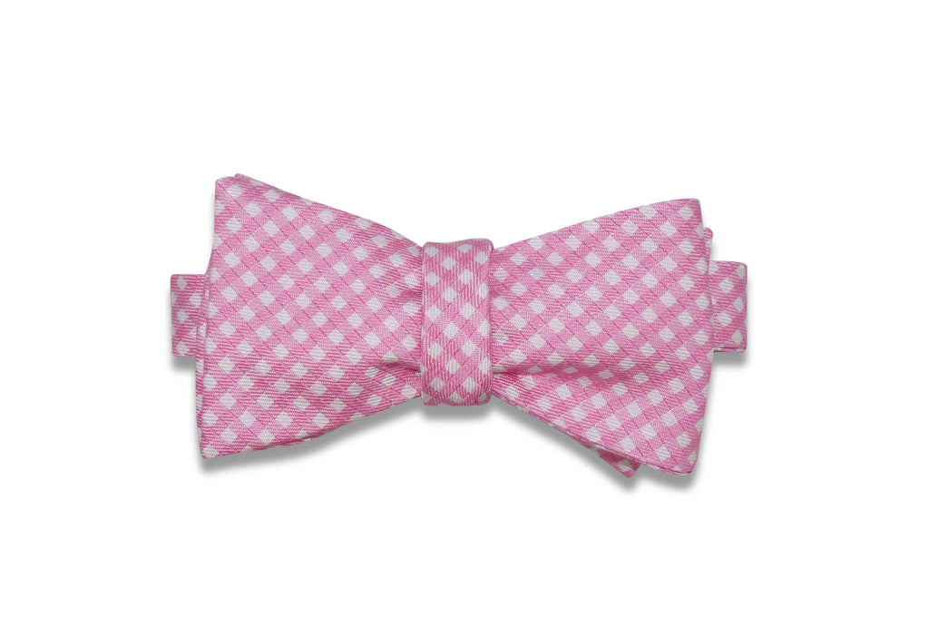 Pink Gingham Silk Bow Tie (Self-Tie)
