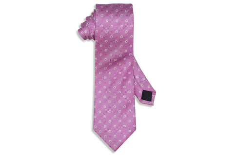 Pink Star Circle Silk Tie