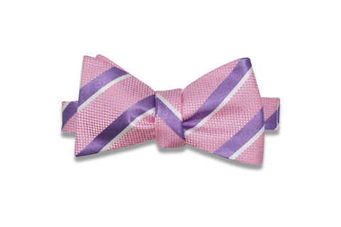Pink Stripe Purple Silk Bow Tie (Self-Tie)
