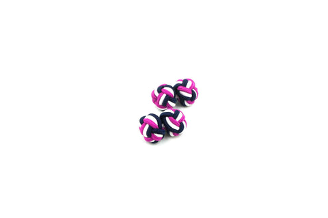 Pink White Blue Knotted Cufflinks