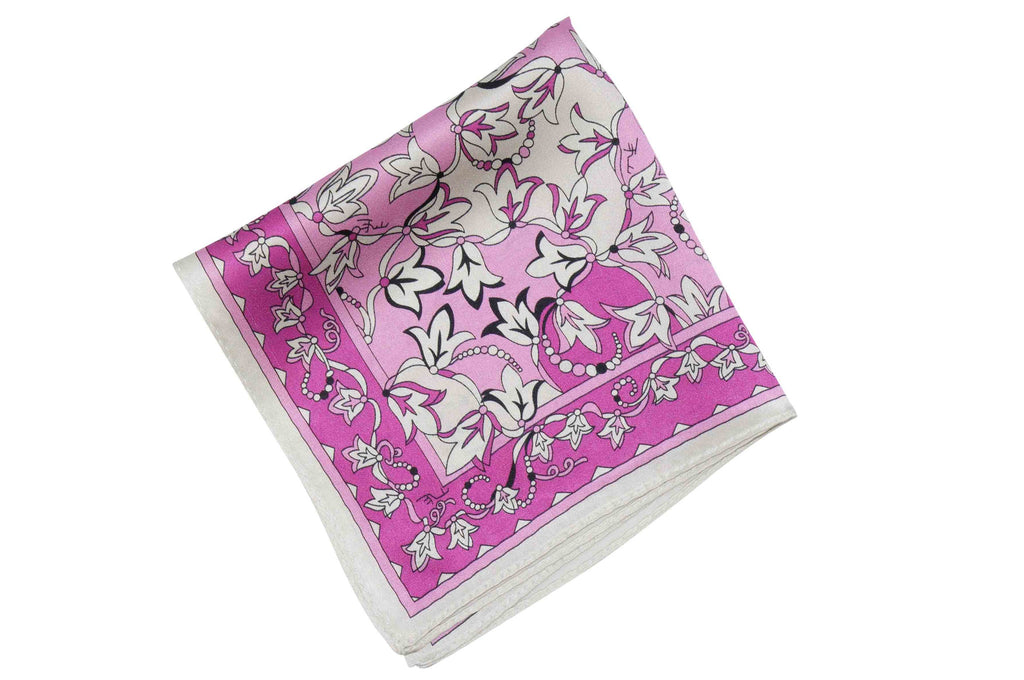 Pink White Flowers Silk Pocket Square