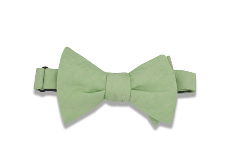 Pistachio Green Cotton Bow Tie (self-tie)