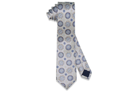 Platinum Circle Flowers Silk Skinny Tie
