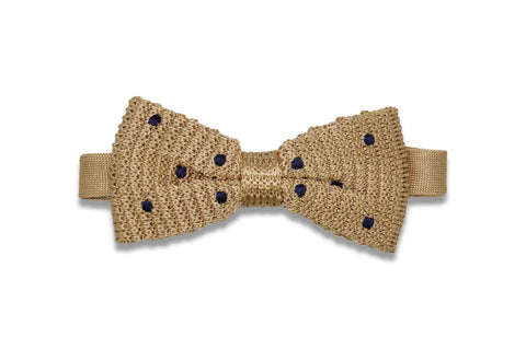 Polka Dot Gold Knitted Bow Tie (pre-tied)