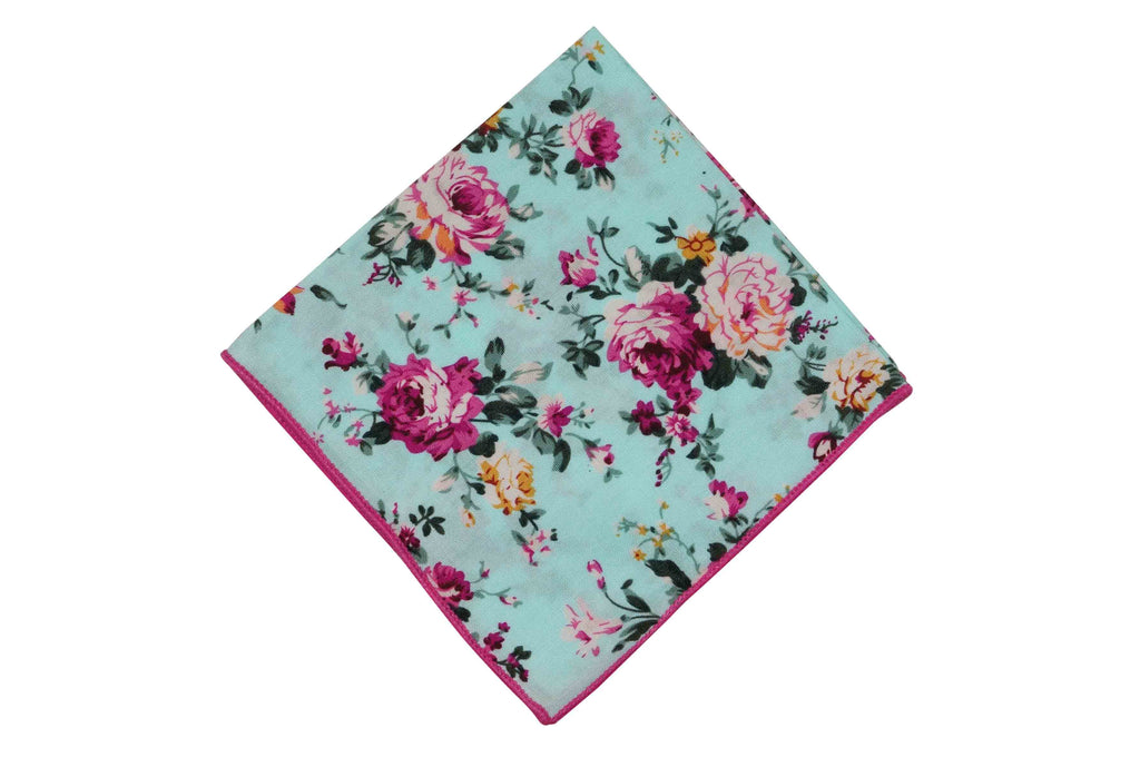 Powder Rose Floral Cotton Pocket Square