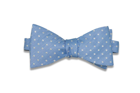 Powder White Dots Silk Bow Tie (self-tie)