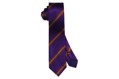 Purple Class Stripes Silk Skinny Tie