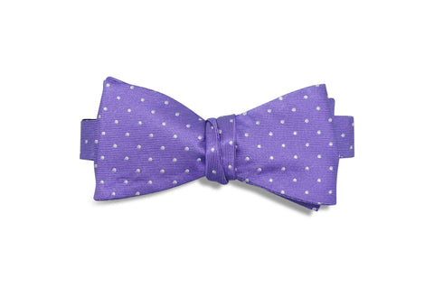 Purple Dotted Silk Bow Tie (self-tie)