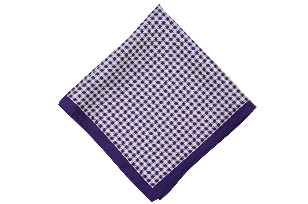 Purple Gingham Stripes Silk Pocket Square