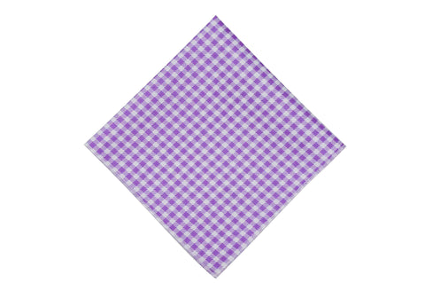 Purple Gingham Cotton Pocket Square