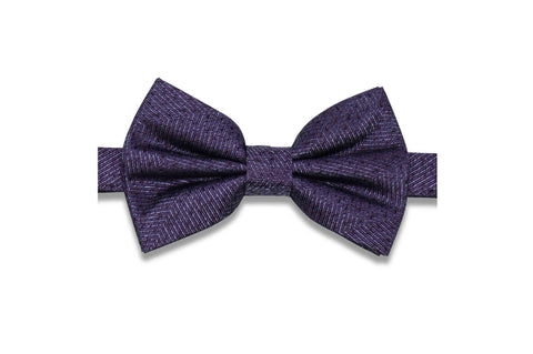 Purple Grained Silk Bow Tie (Pre-Tied)