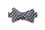 Purple Gray Checks Silk Bow Tie (self-tie)