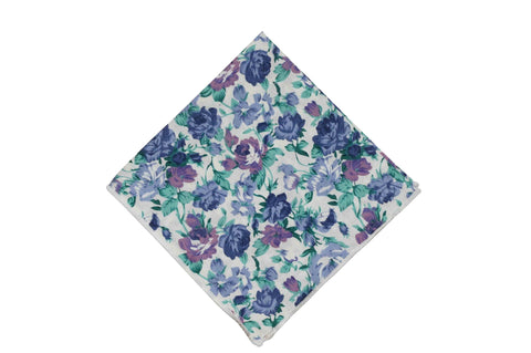 Purple Green Floral Cotton Pocket Square