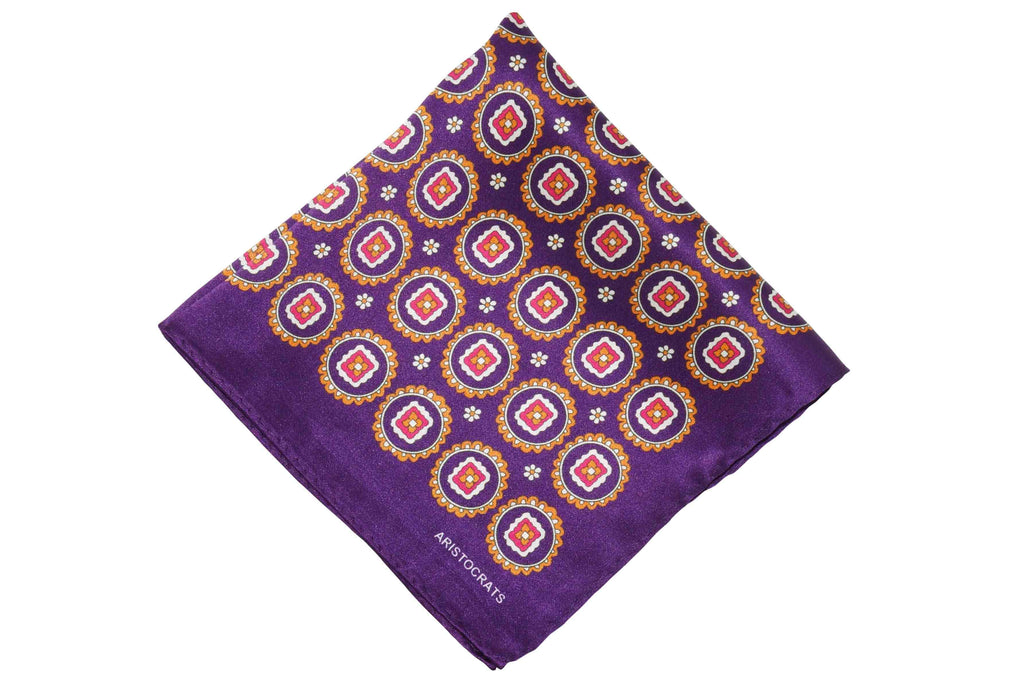 Purple Medal Silk Pocket Square
