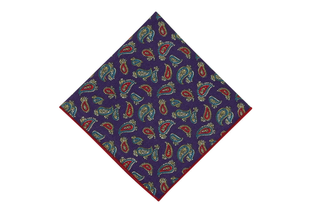 Purple Paisley Cotton Pocket Square