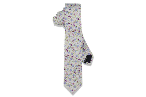 Purple Pink Floral Cotton Skinny Tie