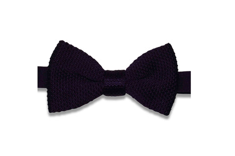Purple Plum Knitted Bow Tie (pre-tied)