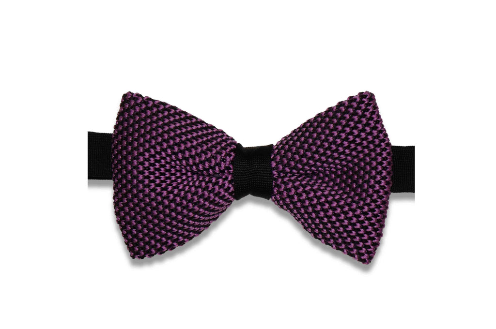 Purple Scales Knitted Bow Tie (pre-tied)
