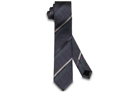 Purple Triple Stripes Silk Skinny Tie