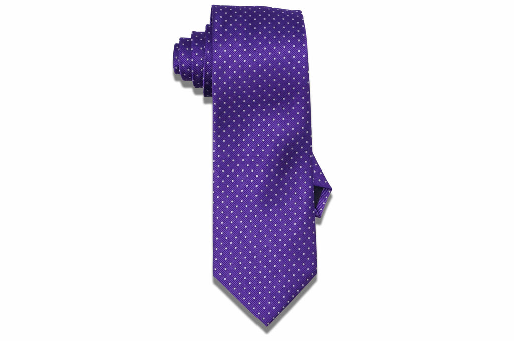 Purple White Dots Tie