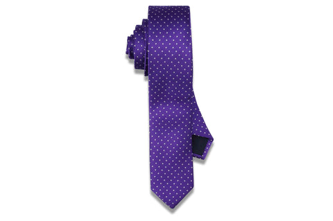 Purple White Dots Skinny Tie