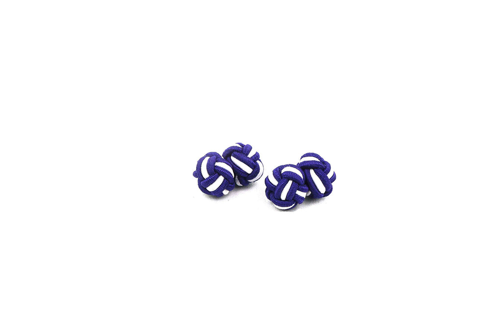 Purple White Knotted Cufflinks