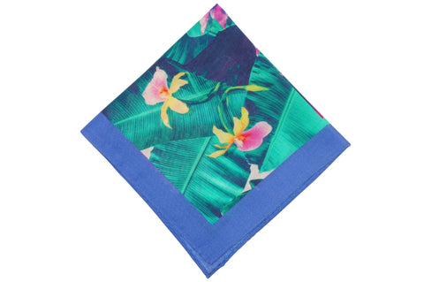 Rain Flowers Linen Pocket Square