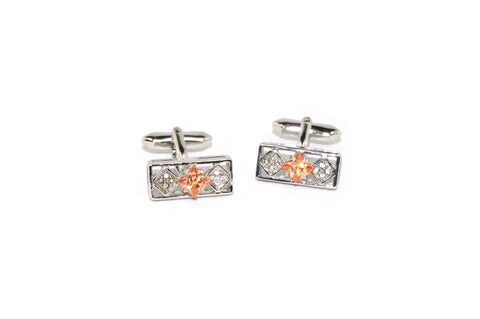 Rectangle Peach Crystal Cufflinks