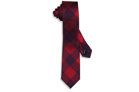 Red Blocks Skinny Tie