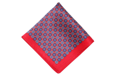 Red Blue Circles Silk Pocket Square