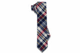 Red Blue Plaid Cotton Skinny Tie