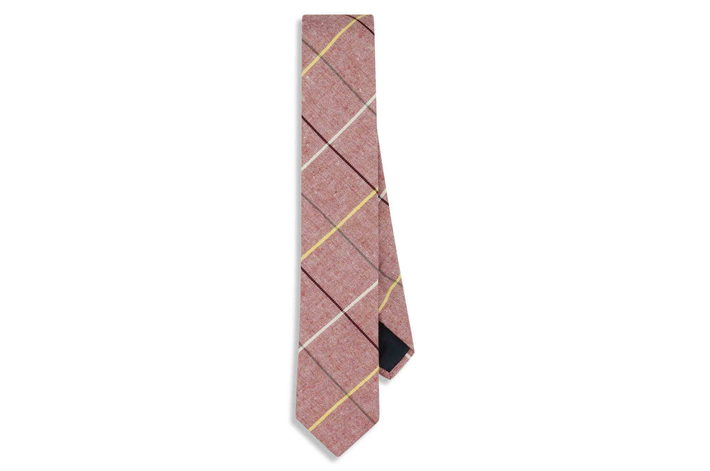 Red Boxed Cotton Skinny Tie