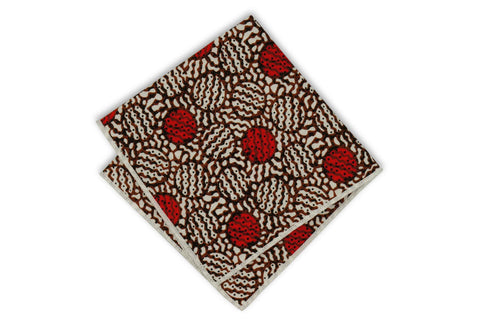 Red Brown Circled Cotton Pocket Square