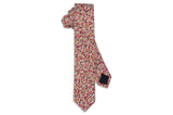 Red Brown Floral Cotton Skinny Tie
