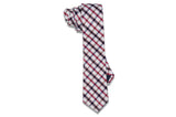 Red Brown Stripes Cotton Skinny Tie