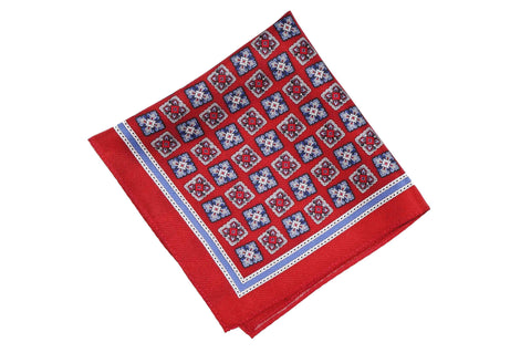 Red Cubes Silk Pocket Square